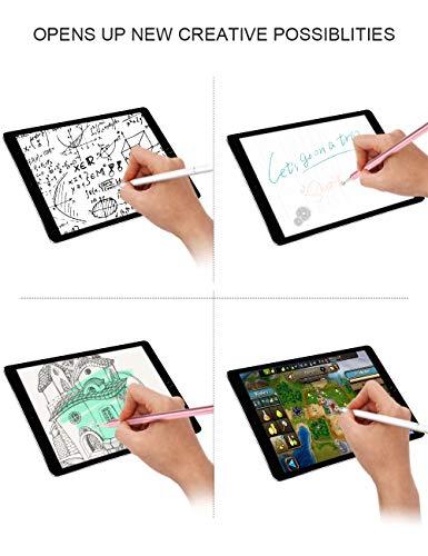 kimcrown Eingabestifte, Disc Stylus Pen Präzision Touchscreen Stift kompatibel für iPad, iPhone, Samsung Galaxy, Android Handy und Tablets (Rosa+Weiß)