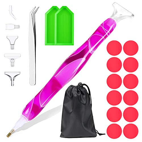 21Pcs Diamond Painting Pen Accessories - DEWANG Ergonomic Diamond Art Pen Tools Diamond Painting Accessories Kit with 12 Pcs Wax Craft DIY 5d Diamond Painting Tool Kit for Adults Art Lover
