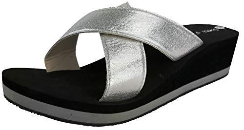 Siebi's Malibu Bade-und Freizeit-Pantollette extra leicht mit Absatz: Farbe: Silber | Größe: 39 EU