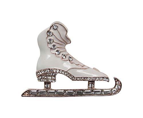 Broche para patines de hielo de acero y pedrería de cristal blanco.