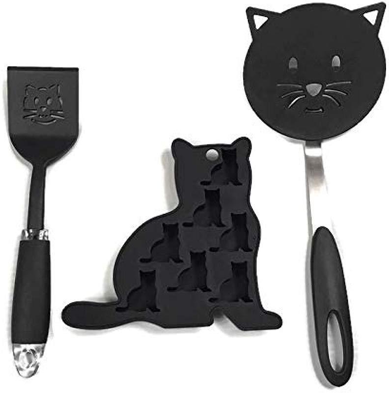 Kitchen Collection Black Cat Set Nylon Turner Nylon Cookie Turner Silicone Ice Tray Bundle