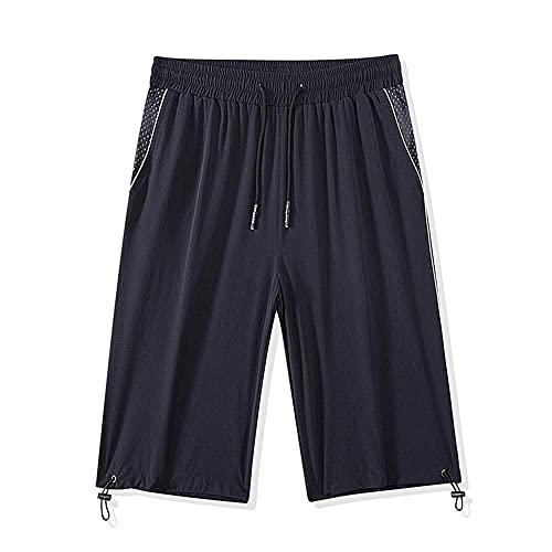 MZL Jogging Fitness Short Pants Tamaño Grande Pantalones Cortos de Seda de Hielo Hombres Verano Ocio Pantalones Deportivos Correr Pantalones Cortos Pantalones de playa-H666 Blue_XXL