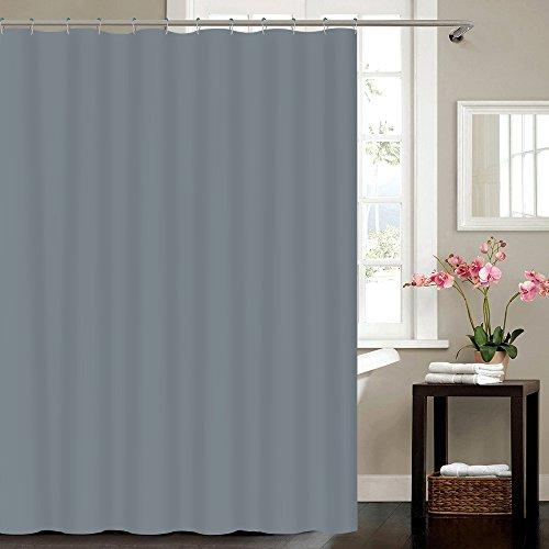 VÄLSON Duschvorhang 180x180 cm Simply Grey Textil Antischimmel Antibakteriell incl. Ringe mit verstärkte Lochleiste & Gewichtsaum