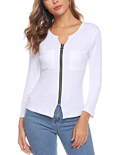 iClosam Blusa De Mujer Camisa AlgodóN Mangas Largas Zipper Slim Fit Camiseta Polsillo Escote V