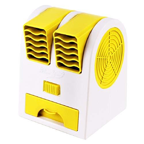 BOENTA Torre Condizionatore Ventilatore Senza Pale con Funzione Aromaterapia Ventola Portatile USB Mini A Doppia Porta Senza Foglie Refrigerazione Applica A Ufficio Salotto Dormitorio Yellow