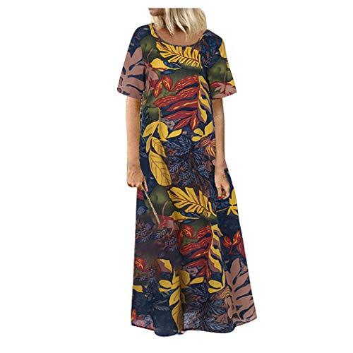 Vestidos Mujer Playa Casual Verano,Vestido Largo Casual De Manga Corta con Cuello En V Y Estampado De Flores Vintage para Mujer
