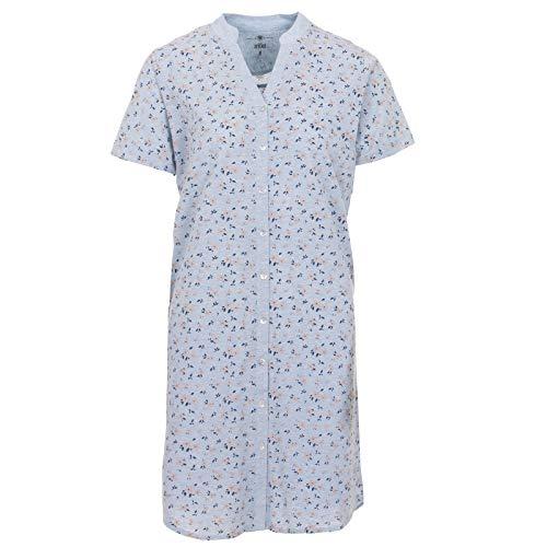 Zeitlos - Nachthemd Damen Kurzarm Stehkragen Blumen Knopfleiste, Farbe:hellblau, Größe:XL