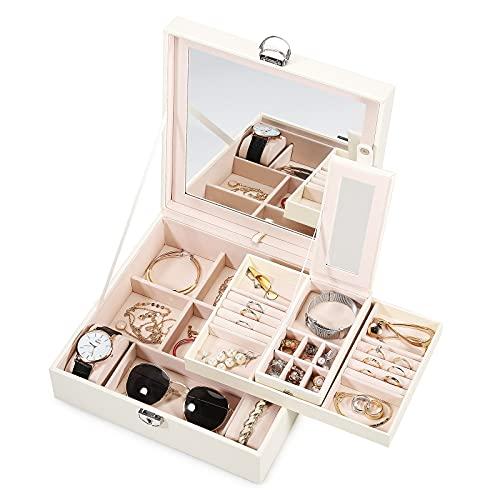 Asvert Caja joyería organizador de joyas Estuche de Joyas Cuero con Espejo organizador Visualización del anillo de la caja de regalo,Negro (Blanco)