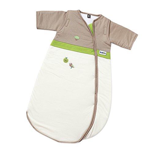 Gesslein Bubou Design 145: Temperaturregulierender Ganzjahreschlafsack/Schlafsack für Babys/Kinder, Größe 90, Natur mit Waldmotiv 145