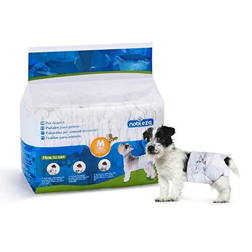 Nobleza - Pañales para Perros Desechables Macho Hembra Cachorro Entrenamiento Pañales Súper Absorbente Envolturas para Mascotas Paquete de 12 44 * 31 cm