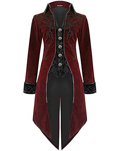Devil Fashion Hommes Queue de Pie Veste Rouge Velours Gothique Steampunk Aristocrate Régence - Bordeaux Rouge, Bordeaux Rouge, XXL