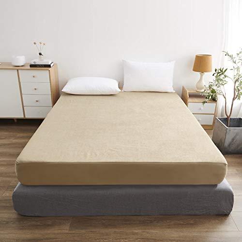 haiba Protector de colchón impermeable transpirable con correas de esquina, café, 200x220cm+30cm