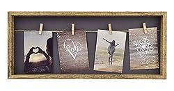 Gallery Solutions Bilderrahmen Collage Wäscheleine mit Klammern 4 Fotos à 9x13 cm, Natur, 52x22 cm