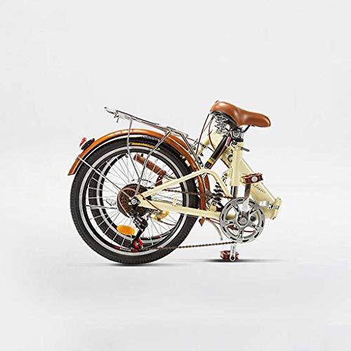 GUOE-YKGM Klappräder Damenrad 6 Geschwindigkeits-20-Zoll-Räder Faltrad Doppelscheibenbremse Fahrräder for Erwachsene Teens Drahtkorb, Brown Grip