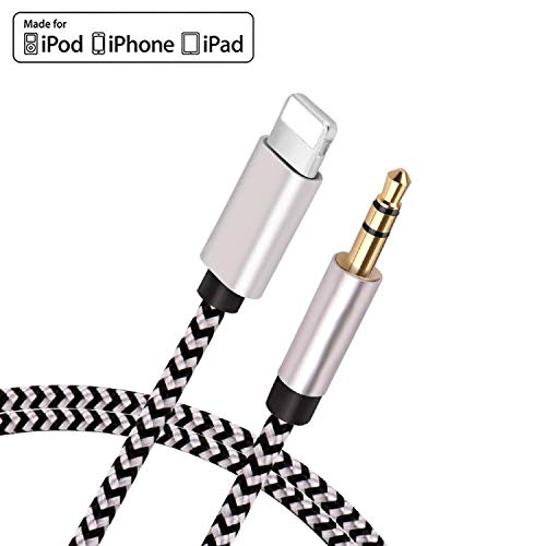 [Apple MFi Certified] iPhone Aux Cord for Car, Lightning to 3.5mm Nylon Braided Audio Stereo Cable Compatible for iPhone 11/11 Pro/XS/XR/X 8 7 6/iPad, iPod to Car Stereo, Speaker, Headphone (3.3ft/1M)