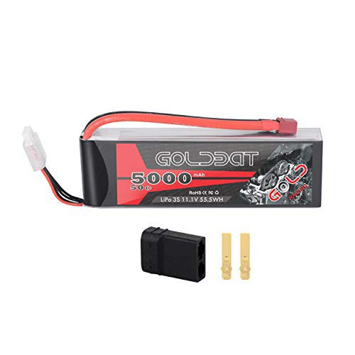 GOLDBAT 3S 5000mAh 11.1V 50C LiPo RC Battery Softcase with Deans Plug and TRX Connector for RC Evader BX Car RC Truck RC Truggy RC Heli Airplane Drone FPV Racing