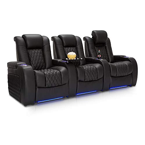 Seatcraft Diamante - Home Theater Seating - Power Recline - Top Grain Leather - Powered Headrests - Cupholders - USB Charging - Ambient Lighting - Arm Storage, Row of 3, Black