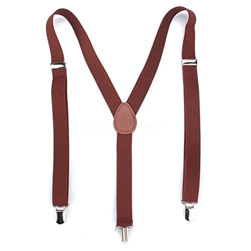 Boolavard Herren Damen Long Hosenträger Y Form Style 3er Clips elastisch Schmal Unifarbe und Bunt mit verschiedenen Motiv (Braun)