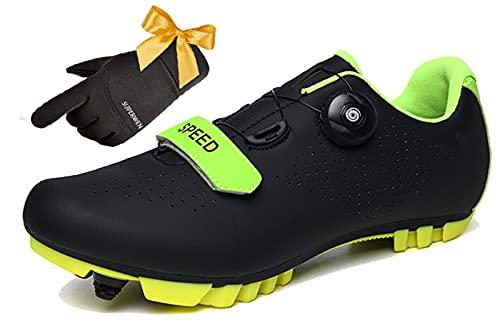 SUPERWEN Zapatillas De Ciclismo MTB Professional Speed Bicicle De MontaÑa Zapatos De Ciclismo Racing Bicicleta Zapatos Deportivos para Hombres Mujeres Antideslizantes(37, Black)
