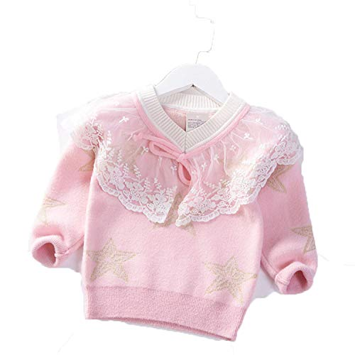 Winter V-Neck Baby Girls Sweater Princess Pullover Mink Velvet Knit Pentagram Kids Clothes Lace Children Warm Coat Pink 2T