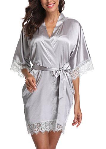 Kurzer Satin-Kimono-Bademantel für Damen, reine Farbe, Brautjungfern, Bademantel mit Spitzenbesatz - Silber - Small
