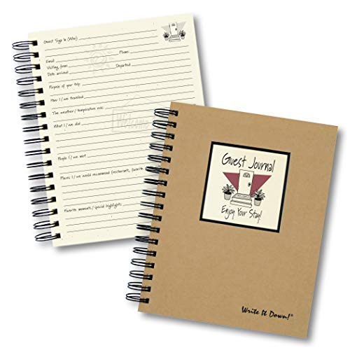 """Journals Unlimited """"Write it Down!"""" Series Guided Journal, Guest Journal, Enjoy Your Stay!, with a Kraft Hard Cover, Made of Recycled Materials, 7.5""""x 9"""" Photo #3"""