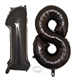 SNOWZAN Globo de 18 cumpleaños para niña, color negro, número 18, globos gigantes de helio, número 18, globos grandes con números 18 años, XXL, 18 años, con texto 'Happy Birthday', número 18 años