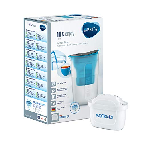 BRITA Fill & Enjoy Fun Water Filter Jug, Compatible with BRITA MAXTRA+ Cartridges, Water Filter that Helps with the Reduction of Limescale and Chlorine, Compact Jug, in Blue