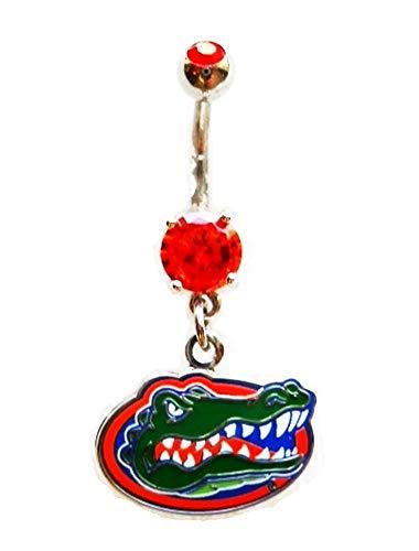 UNIVERSITY OF FLORIDA GATORS ORANGE CZ Navel Belly Button Ring Body Jewelry Piercing