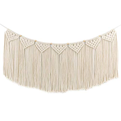 Macrame Woven Wall Hanging Curtain Fringe Garland Banner - BOHO Shabby Chic Bohemian Wall Decor - Apartment Dorm Living Room Bedroom Baby Nursery Art - Party Backdrop Decoration, 15'W x35'L, 7 'flags'