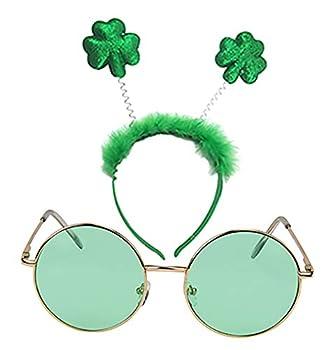 SUNNYPRO St Patricks Day Costume Accessories Shamrock Green Headband Round Sunglasses
