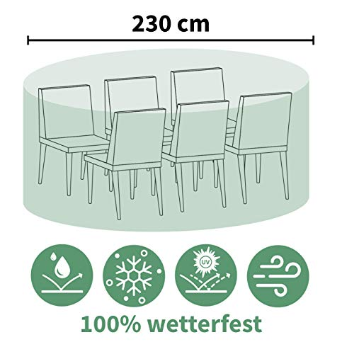 ACAMP Abdeckung für Outdoor Gartenmöbel oval 230 cm – schützt vor Wind, Regen und Sonneneinstrahlung – robuste Schutzhülle mit perfektem Sitz – schützt vor Wind, Regen und Sonneneinstrahlung – reißfeste Abdeckhaube