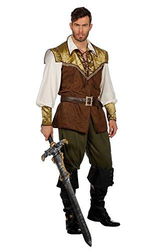 TH Disfraz medieval de Borgoña, Lady princesa, cerrajero, caballero guerrera (disfraz para hombre verde/marrón/dorado, 56)