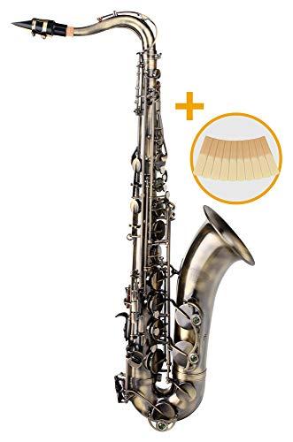 Classic Cantabile TS-450 Antique Yellow Bb Tenorsaxophon - Bb-Stimmung - Hoch-Fis-Klappe - Spar-Set inkl. 10 Stück Saxophon-Blätter