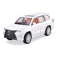 車のモデル1:32レクサスLX570シミュレーション合金ダイカストおもちゃの装飾品スポーツカーコレクションジュエリー17×6.5×6センチ (Color : White)