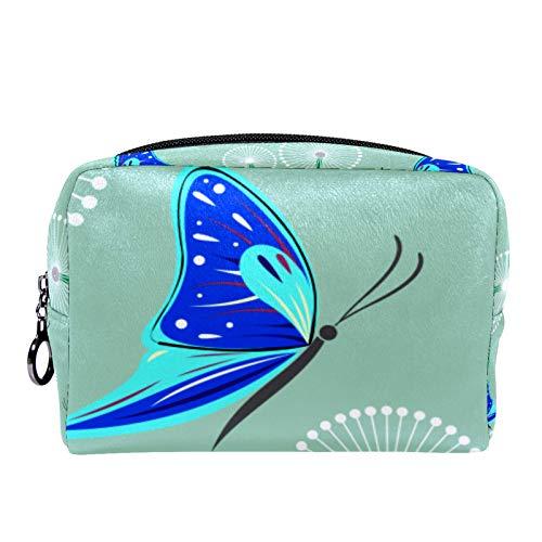 Bolsa de cosméticos Bolsa de Maquillaje para Mujer para Viajar Llevar cosméticos Cambiar Llaves, etc.,Mariposa Azul