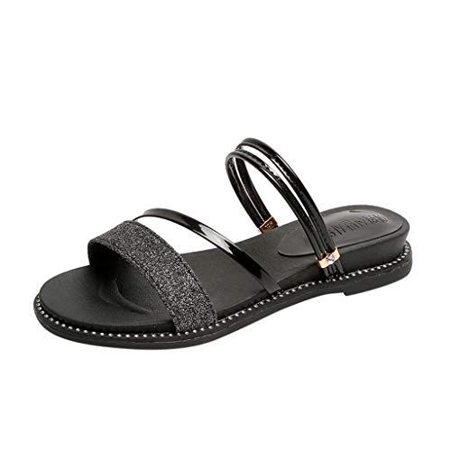 Sandalen Damen,Sommer Bohemian Bling Outdoor Hausschuhe Flach Mit Schuhen Slides Strandschuhe(Schwarz,EU 35)