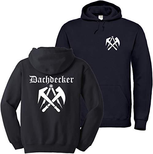 """Textildruck Universum Hoodie Dachdecker Zunftwappen 3\"""" S bis 5XL (Schwarz, XL)"""