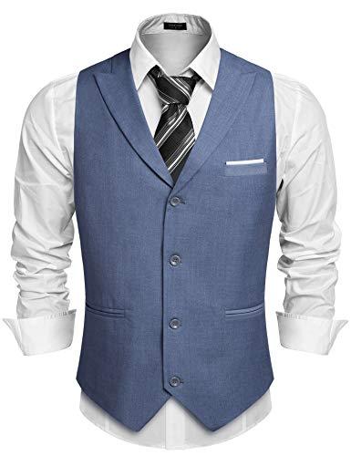 COOFANDY Herren Western Weste Schmale Tweed Weste Slim fit V-Ausschnitt Ärmellose Gilet Business Casual Klassisch Basic Männer Anzugweste für Herren