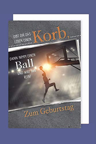 Sport Geburtstag Karte Grußkarte Basketball 16x11cm