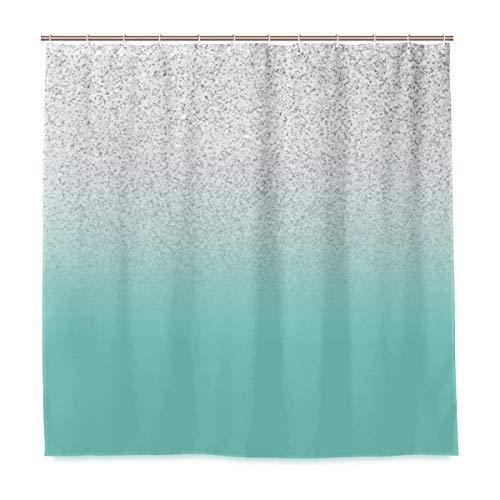Unbekannt Duschvorhang-Set für Badezimmer, modernes Design, Kunstsilber, glitzernd, Blaugrün, Ombre Ombre Ozeanblau, Polyester-Stoff mit Haken, 182,9 x 182,9 cm