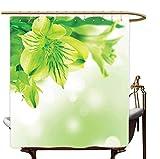 Frische Lilienblüte mit Blättern Abstrakter Bokeh Hintergr& Gartenpflanze, Limettengrüner Apfelgrün Duschvorhang