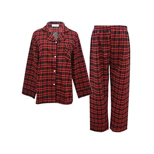 LJLLINGA Pijamas de Pareja de Cuadros Escoceses de algodón Puro para Hombres y Mujeres Ropa Coreana de Manga Larga para el hogar de otoño e Invierno