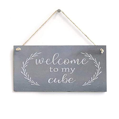 Pealrich Welcome to My Cube Wood Plaque, Wall Hanging Decoration Saying Sign, Rustic Home Decor for Bathroom, Living Room, Bedroom, 8 x 20 Inch