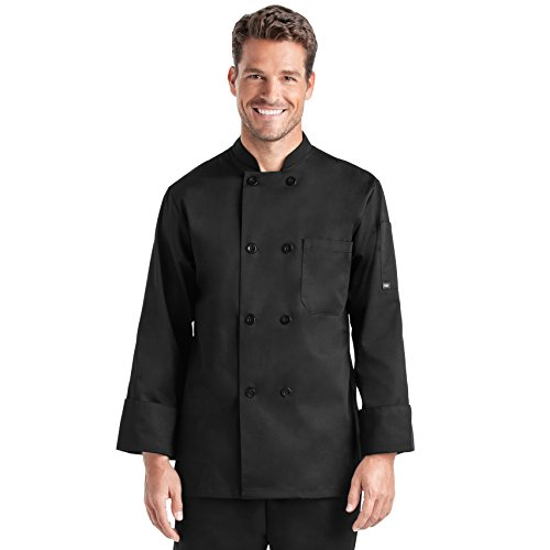 On The Line by ChefUniforms.com Men's Classic Long Sleeve Chef Coat (Medium, Black)