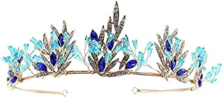 Crown di cerimonia nuziale di cristallo del gelsomino, Blue Crystal Crown Headband Bride Head Head Birthday Grown Regalo,Blue