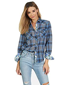 Women s Long Sleeve Plaid Flannell Button up Fashion Shirt  Blue Bird  188  Large