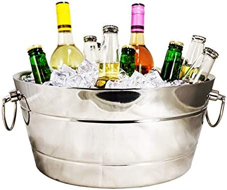 BREKX Stainless Steel Beverage Tub Double Walled Insulated Anchored Ribbed Drink Tub Ice Bucket product image