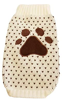 """Pretty Pampered Pets UK Puppy Dog Paw Print Motif Clothing Coat XXS XS S Medium M Small Breeds Extra Small Warm Winter Knitted Brown White Speckle Jumper Coat (Medium-10.5"""")"""