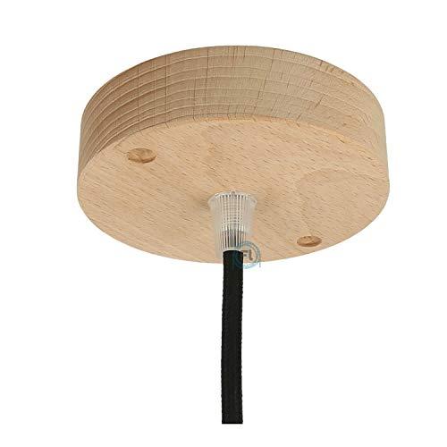 Baldachin   Abzweigdose   Verteilerdose zur Kabelabdeckung Ihrer Deckenlampe   Lampenkappe in holz zylinder ø 100mm - h 32mm inkl Zugentlastung   Lampenbaldachin für alle Lampen geeignet